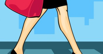 Illustration of woman in business attire walking to work