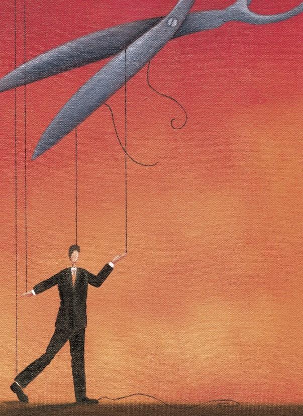 Scissors cutting businessman's strings