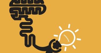 Brain icon and light bulb symbol.