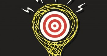 leadership purpose: target within a lightbulb with energy