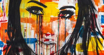 a young women crying colors