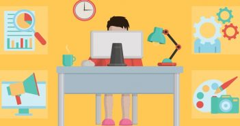 balance - woman at desk with icons of her life