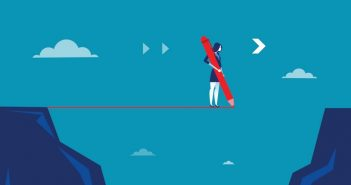 career growth: woman crossing a void