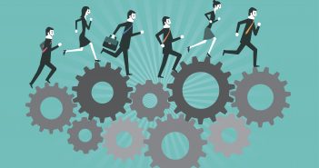 Business people running on gear to success