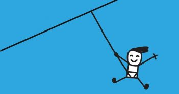 'Just' box: Cartoon of smiling person on a zip wire