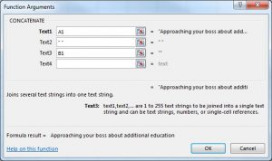 picture of excel function arguments screen