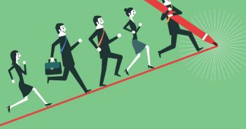business people following a growth line