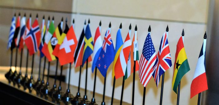 Country flags from the World Admin Summit