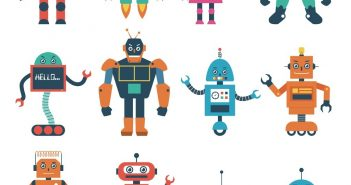 robots of many colours and sizes