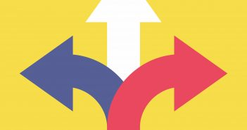 Three arrows pointing in different directions. Choose the way concept.