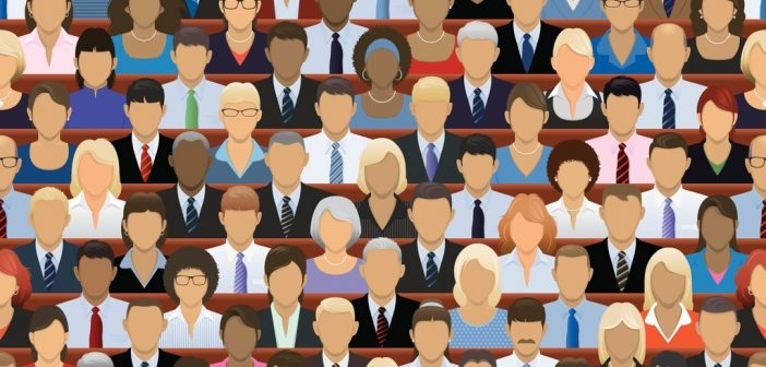 large-scale meeting - many faces