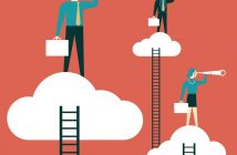job search - business people on clouds looking through telescoopes