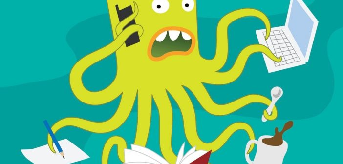 switchtasking - busy cartoon octopus looking stressed