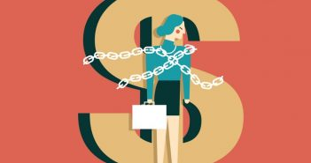 money: dollar sign with woman chained to it