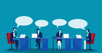 Words: people at a meeting talking