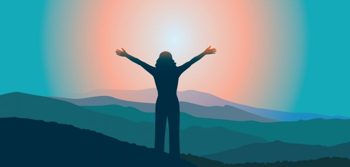 Amazing life: woman with arms outstretched