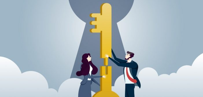 strategic partner: two business people with key and lock