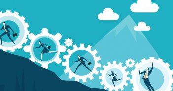 self-talk: people running uphill inside cogs