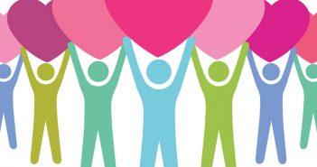 Attitude of gratitude: people holding hearts