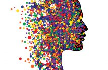 head shape with colourful dots: wisdom