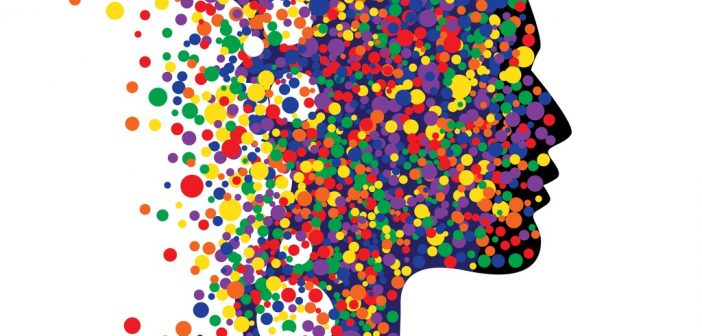 head shape with colourful dots: wisdom