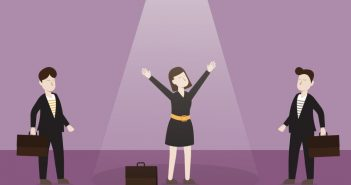 Quit Your Job: Businesswoman in spotlight with hands raised in joy
