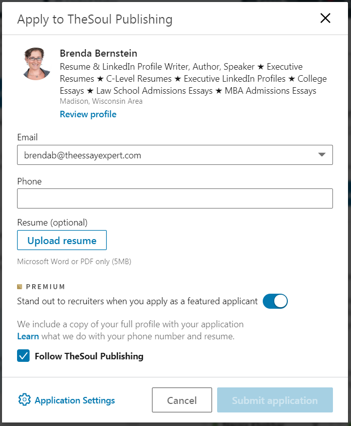 How to Use LinkedIn to Get a Job: example of applying on LinkedIn