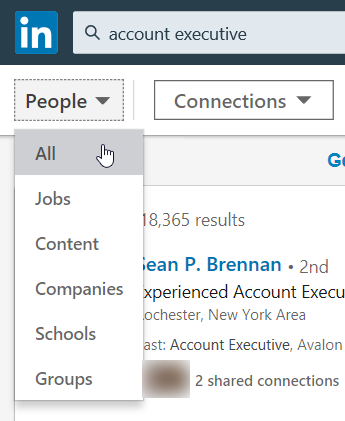 How to Use LinkedIn to Get a Job: People dropdown menu