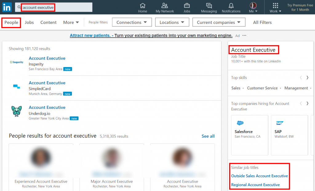 How to Use LinkedIn to Get a Job: examples of job titles