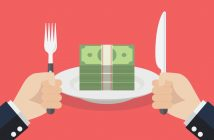 workplace etiquette: money on a plate with knife and fork