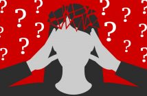 decision fatigue: woman holding head in hands, surrounded by question marks