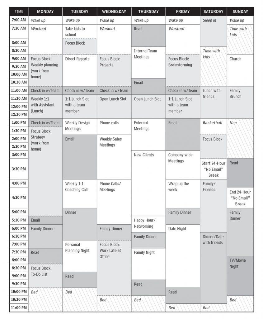 your executive's calendar