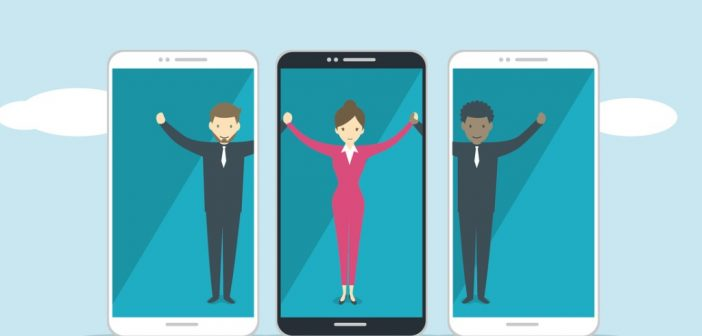 Employee Engagement: people holding hands virtually through their phones