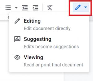Google Workspace Suggesting Mode