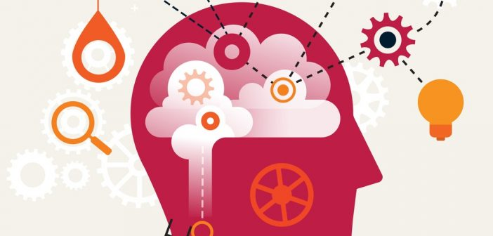 Choosing the right mindset - silhouette of head showing clouds and cogs